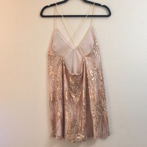 Champagne and Pink Open Back Sequin Mini Dress